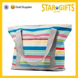 OEM China Factory Direct Supply Stripe Printed Waterproof Beach Bag For Women