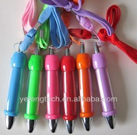 mini ball pen with string / fat click plastic ball pen / promotional fat plastic ball pen with logo