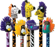 2014 newest&hotest crazy pencil toppers for school&office, plastic cartoon animal world pencil toppers, promotional pen type top