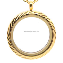 Fashion jewelry magnet glass floating locket,gold stainless steel locket pendant