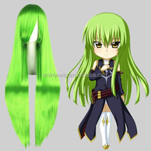Wholesale 40Inch Long Straight Green Cosplay Hair Wigs CODE GEASS Synthetic Anime Wig Cosplay Party Wig