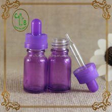 For female 10ml purple glass empty bottle for e-liquid with purple child safety cap and glass dropper