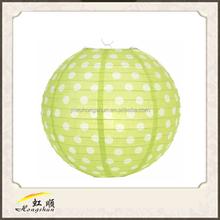 wholesale fashion 3d paper decorations/Light Lime Polka Dot Paper Lantern