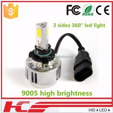 3 sides Car LED Headlight H4 H7 H11 9005 9006