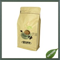 reclosable craft paper coffee pouch flat bottom gusset coffee sachet with ziplock