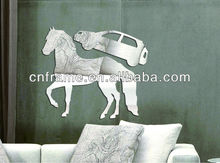 Popular Funny Meaningful A Car On The Horse Shaped PS Decorative Wall Mirror Sticker KX-2090