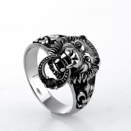 Ancient Retro Design Lion Head with Iris Heart Vintage Lion Men Ring Jewelry Accessories