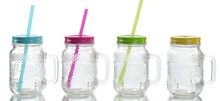 Hot Pineapple Glass mason jar with handle and straw