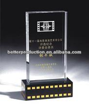 custom square crystal plaque with black base for celebration souvenir