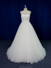 Dreamy sheer beaded embroidered corset flowing soft tulle skirt wedding dress 2015