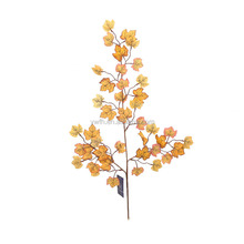2015 Brand new coming style high quanlity lifelike looking yellow satin artificial maple leaves for Thanksgiving Day decoration