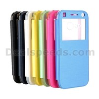 Ultraslim Caller ID Display Back Transparent Plastic Folio Leather Case for HTC One M8 Mini
