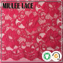 2015 NYLON COTTON red flower pattern lace fabric cotton yarn popular pattern design lace fabric French wedding dress lace fabric