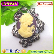 Chinese manufacturer supply metal cameo jewelry making brooch #5490