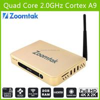 Zoomtak T8 XBMC /KODI quad core TV box Aml S802 google internet 4.4 tv box OTT 4k TV box android media player metal case