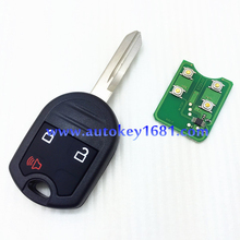 car remote keys for ford 3 button remote key 315mhz/433mhz with transponder 4D63(40bit)chip with uncut blade