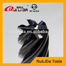 6 flute cemented tungsten carbide end mill for Cast Iron