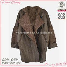 New fashion polyester and wool loose style with fur high quality direct manufacturer men winter overcoats