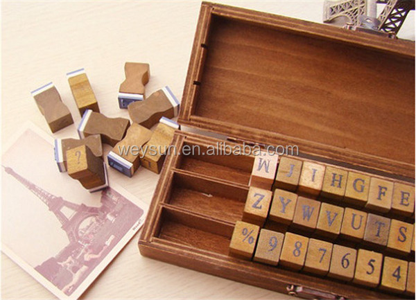 Package Included 1 Piece Retro Wooden Lower Case Alphabet Letters Rubber Stamps Set