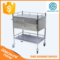 S.S 2 drawers Dressing trolley/instrument trolley/medicine trolley