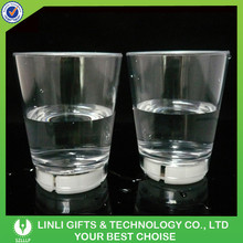 Promotion Knock to Flashing Plastic Vodka Shot Glass With LED For Bar