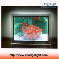 New edgelight super slim wall mounted screw crystal led panel light box and picture display billboard