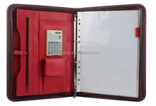 2015 newest A4 leather document portfolio with calculator