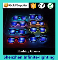 Crazy funny club amazing plastic EL wire flashing 3D luminous/ fluorescent diffraction glasses party glasses