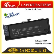 "Wholesale Rechargeable High Capacity 6800mAh Li-polymer laptop battery for Apple Macbook Pro 15"" A1382"