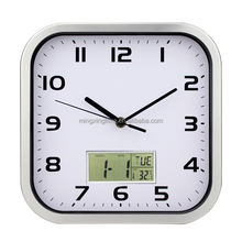 square metal led wall clock digital with day-date display
