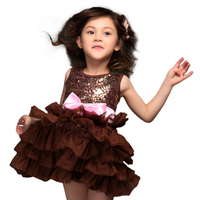 2015 Baby Girls Sequins Party Dresses Toddlers Bow Flower Pageant Clothing polyester Summer Style Dress Children Wear For 3-7T