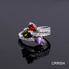 Cheap Price Bulk Wholesale Alibaba Express Jewelry Open Classical Colorful Zircon Ring for Girls