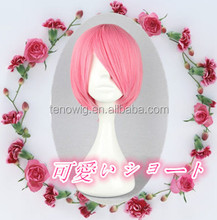 Best selling high quality cute short bob pink cheap synthetic cosplay wig