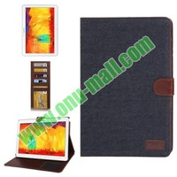 Denim Texture Leather Cover for samsung galaxy note 10.1 2014 edition case with Credit Card Slots