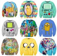 OEM Cheap Adventure Time Print Women Hoodies Cartoon Female Sweatshirt Pullovers, 3D printing Sublimation Anime Hoodies