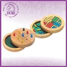 Mini educativos juguete de madera redonda ( ludo, Tic tac toe, mundo ) de viaje juego de mesa
