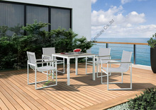 Plastic wood top table with aluminium frame furniture