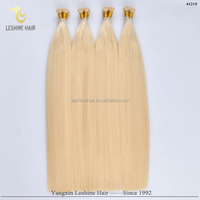 100% factory wholesale top quality remy keratin tip hair silky virgin blonde hair 7a