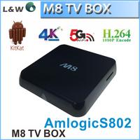 Hottest!!!2015 M8 Android4.4 Smart TV Box Kodi Amlogic S802 Quad Core 2GB/8GB XBMC 4K TV 1080P Full HD Media Player