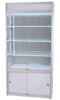 China goods wholesale easy to install and move mdf 100*35*200cm metal glass display cabinet in fashion shop