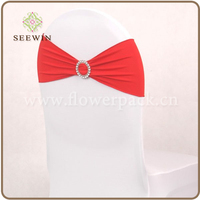 Coral Red Color Single Layer Lycra Bands/Spandex Chair Bands With Crystal Buckle For Wedding Party Banquet Decoration