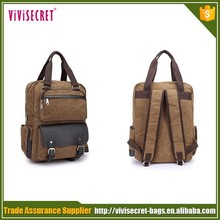 Wholesale promotional blank pattern custom laptop school bag vintage canvas backpack