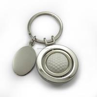 custom logo rotatable metal 3D golf ball keychain