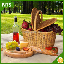 Flat Bottom Mini Picnic Basket Made From Wicker/Rattan For 2/4 People
