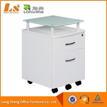 2-Drawer White Wood Mobile Small File Cabinet With Glass Desktop 2015