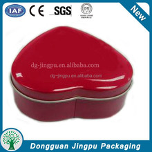 Small heart shape tin can with lid