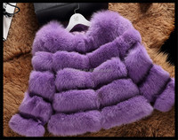 Noble purple color plus size lady's fashion fox fur garments/fox fur coats