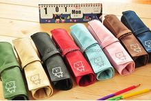 Vintage Roll canvas Makeup Cosmetic Brush Pen Pencil Case Organizer Pouch Bag