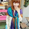 fashion hand-painted gradient satin chiffon long scarf
