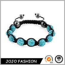 European Style Woven Handmade Custom Nine 9 Ball Crystal Bead Shamballa Bracelet/